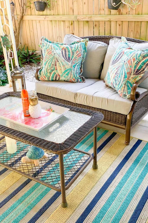 Cozy Patio Ideas Colorful Rugs