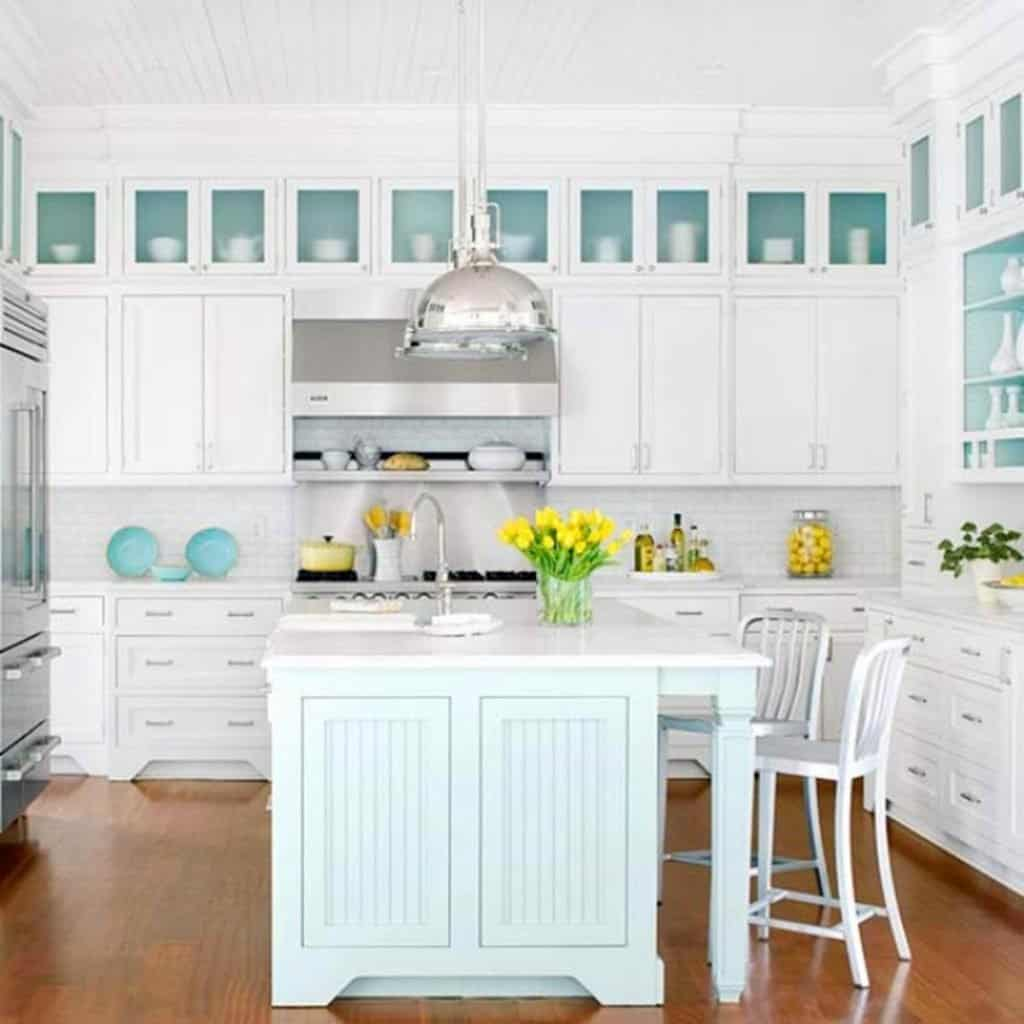 Beach House White Kitchen With Light Turquoise Island