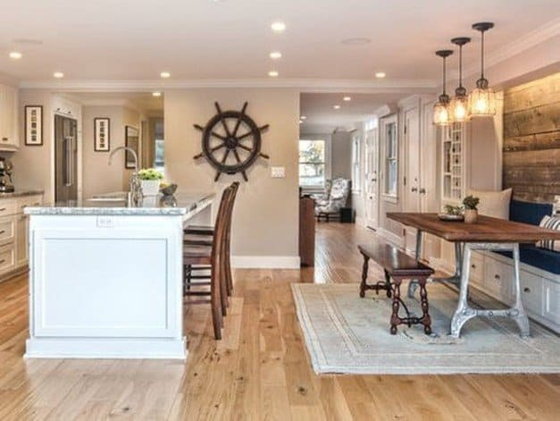 Beach House Kitchen Ideas - White Neutral Kitchen With Wood Accents - Beach House Kitchens - Coastal Style Decor & Design