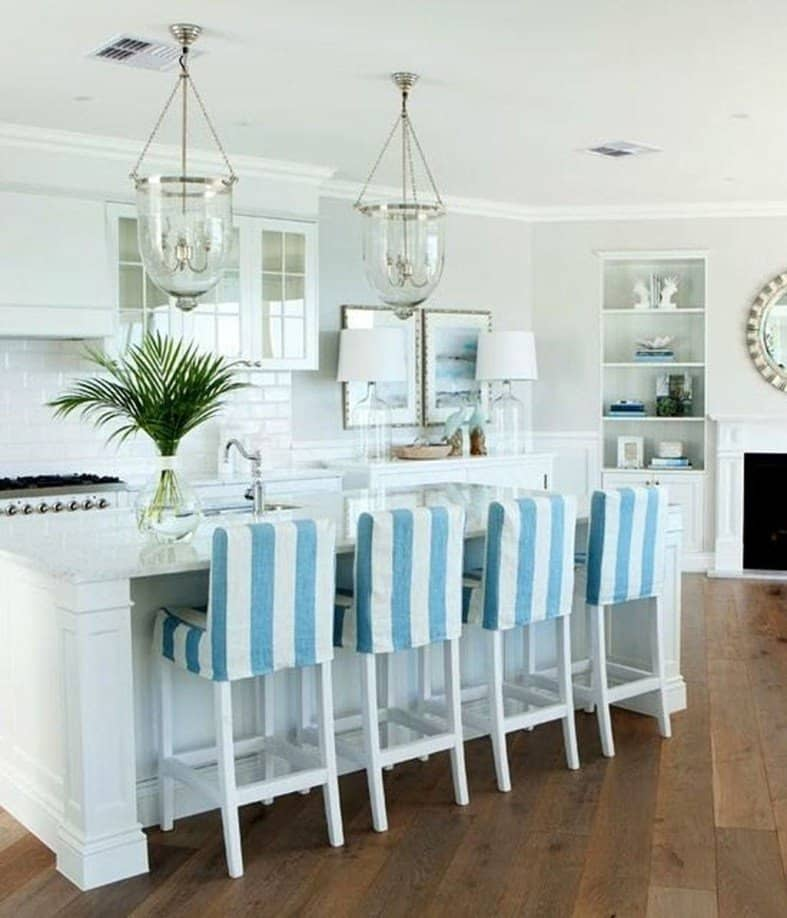 Beach House Kitchen Ideas - White Island With Blue and White Upholstered Bar Stools -Beach House Kitchens - Coastal Style Decor & Design