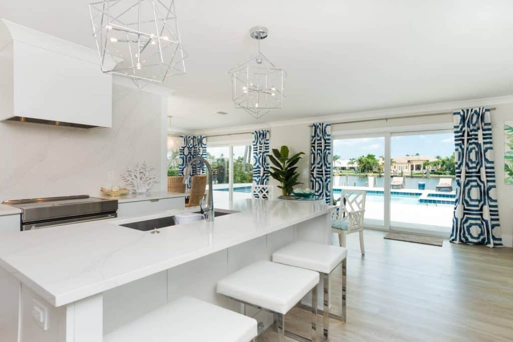 Coastal Modern White Kitchen Island