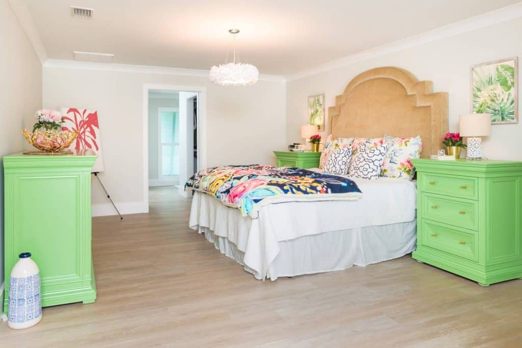 Beach House Bedroom Design Ideas - Bright green night stands and dresser