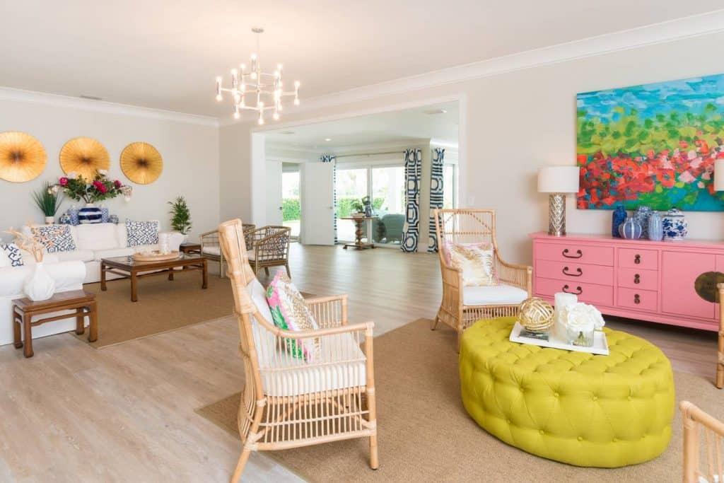 Modern Coastal Design Ideas - Beach House Sitting Area Yellow and Pink