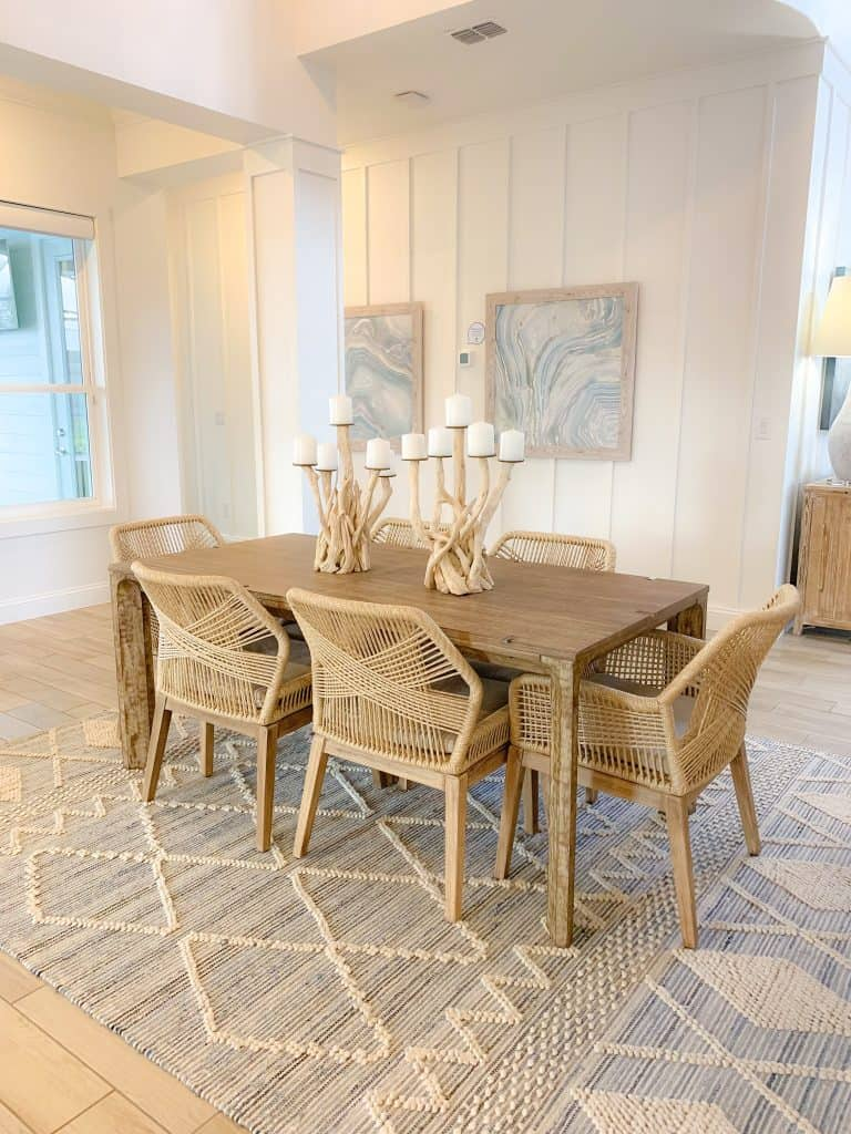 Beach Walk House Tour - Coastal Chic Design and Decor Ideas - Light Wood Dining Table With Wicker Chairs