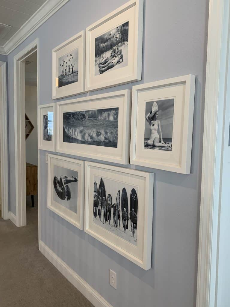 Beach Walk House Tour - Coastal Chic Design and Decor Ideas - White gallery wall in hallway