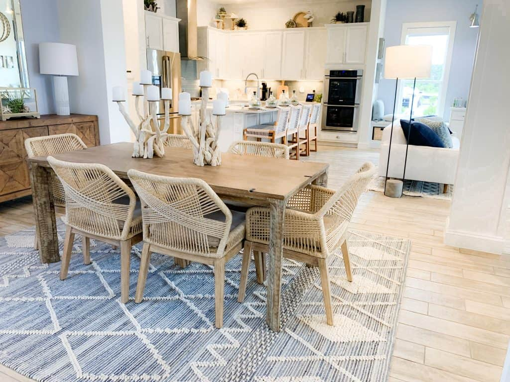 Beach Walk House Tour - Coastal Chic Design and Decor Ideas - Dining Area open to kitchen and living room