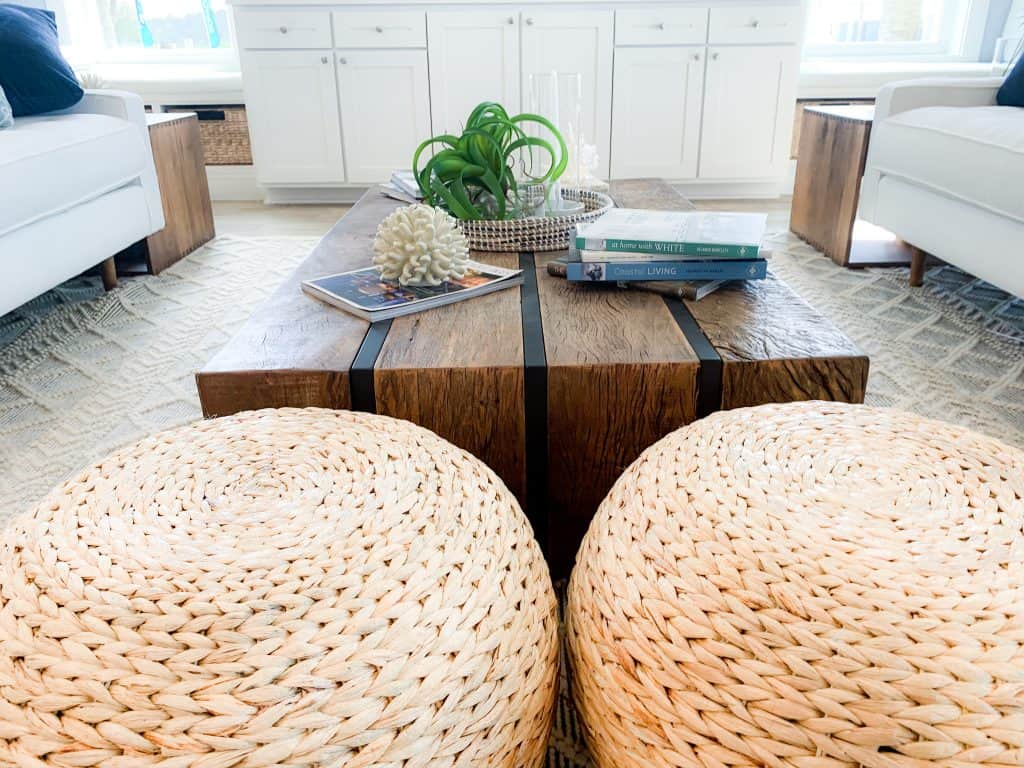 Beach Walk House Tour - Coastal Chic Design and Decor Ideas - Living room with wicker accents