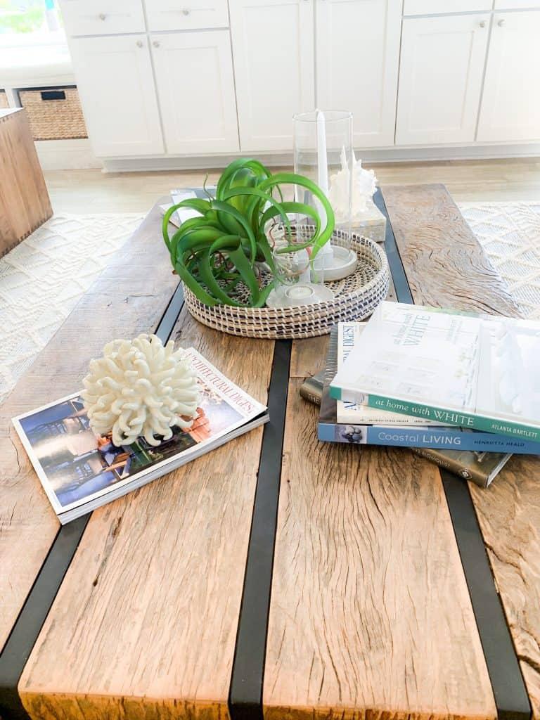 Beach Walk House Tour - Coastal Chic Design and Decor Ideas - Solid wood coffee table