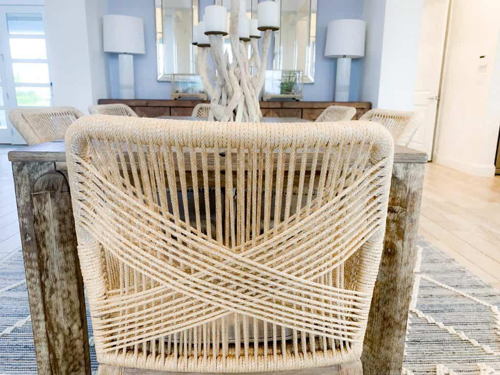 Beach Walk House Tour - Coastal Chic Design and Decor Ideas - wood wicker dining chair