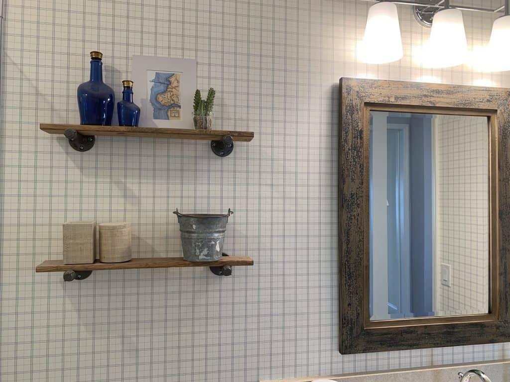 Beach Walk House Tour - Coastal Chic Design and Decor Ideas - mounted wood shelves over toilet