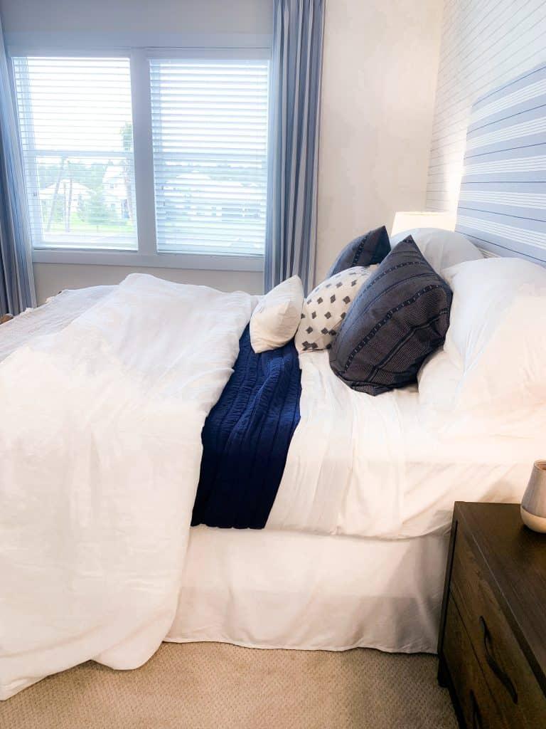Beach Walk House Tour - Coastal Chic Design and Decor Ideas - navy blue stripes bedroom