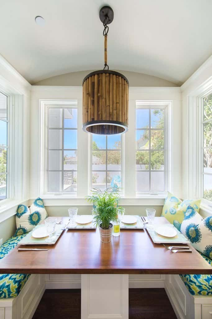 Blue Coastal Dream | Beach House Decor Ideas | Colorful breakfast nook with built in bench seating