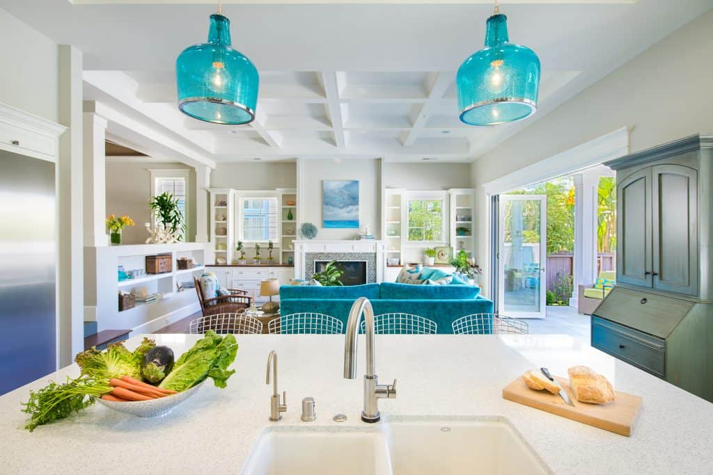Blue Coastal Dream | Beach House Decor Ideas | Kitchen view into living room
