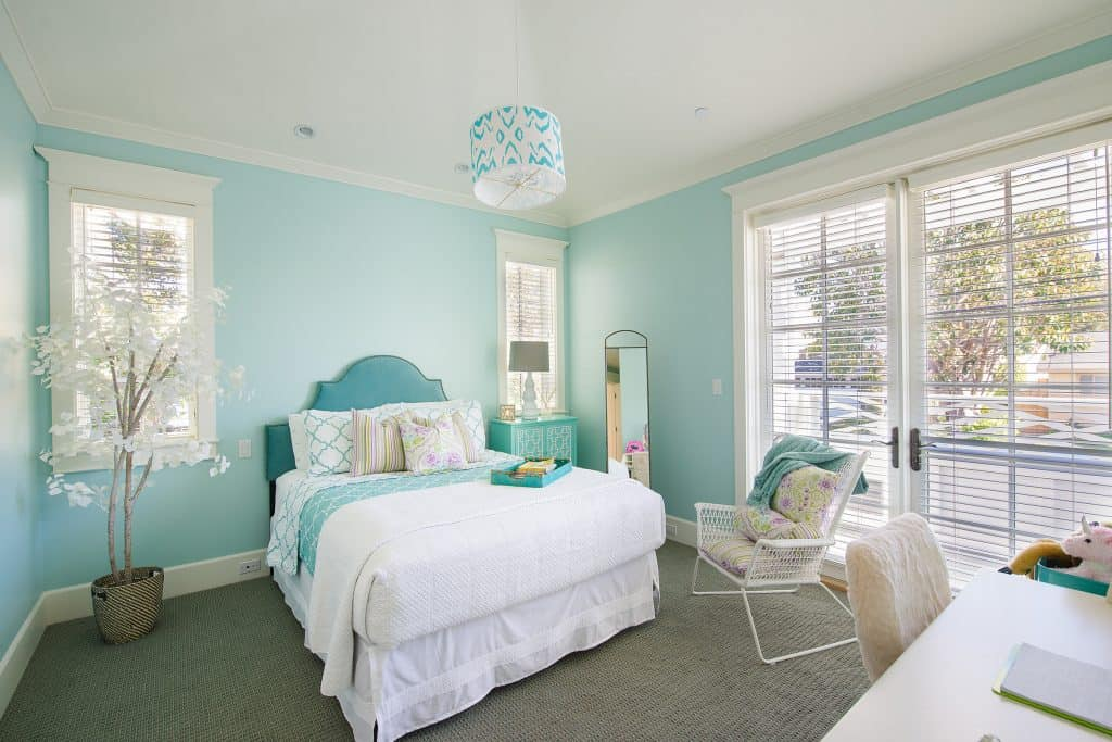 Blue Coastal Dream | Beach House Decor Ideas | Seafoam green blue bedroom