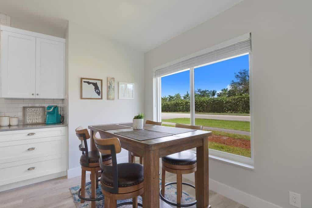 The Bent Palm Jupiter FL AirBnb Breakfast nook table