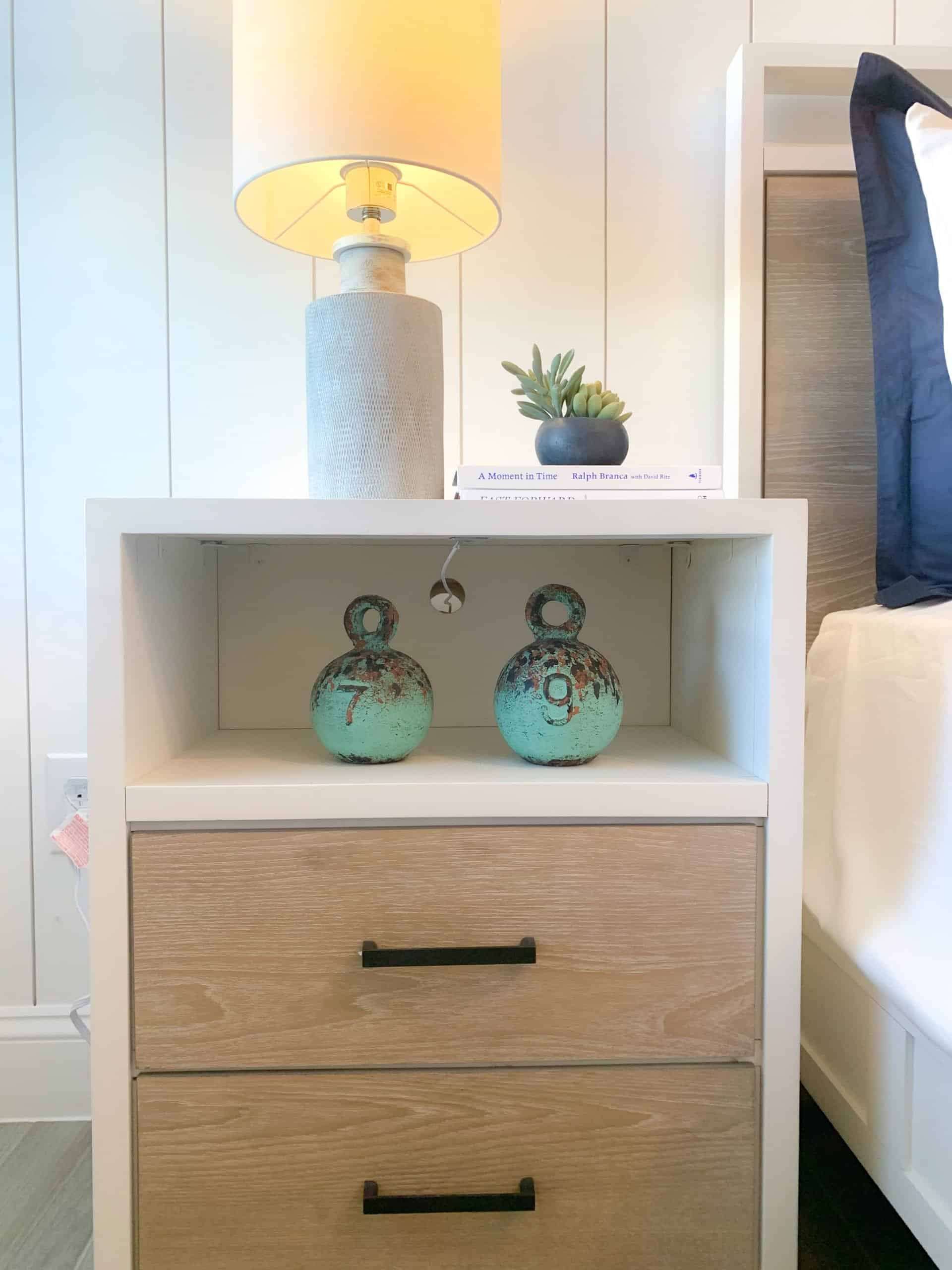 Boys bedroom end table styling with coastal elements