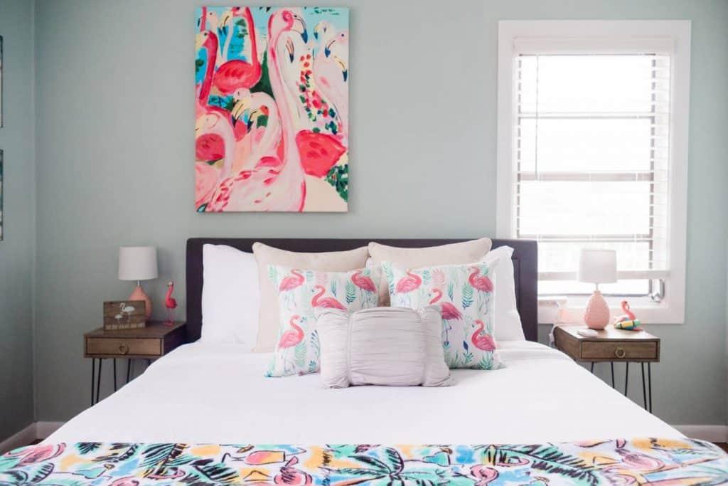 Beach Bungalow Bedroom With Flamingo Throw Blanket