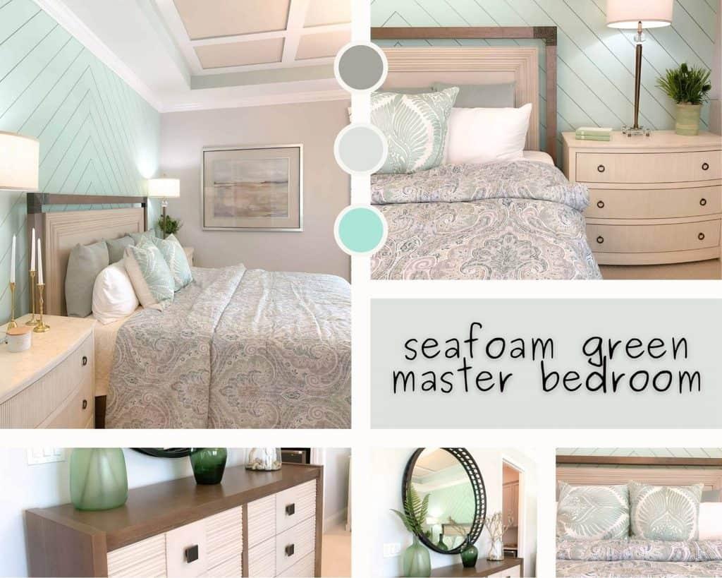 Seafoam Green Master Bedroom Design Mood Board Collage
