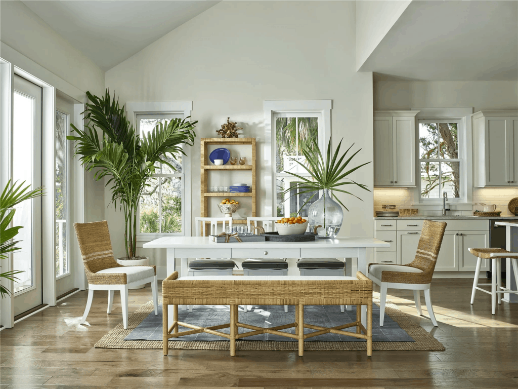 Pineapple Palms White Farm Style Dining Table