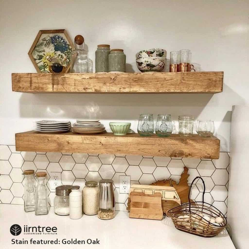 Floating Shelves Help Keep Your Kitchen Organized