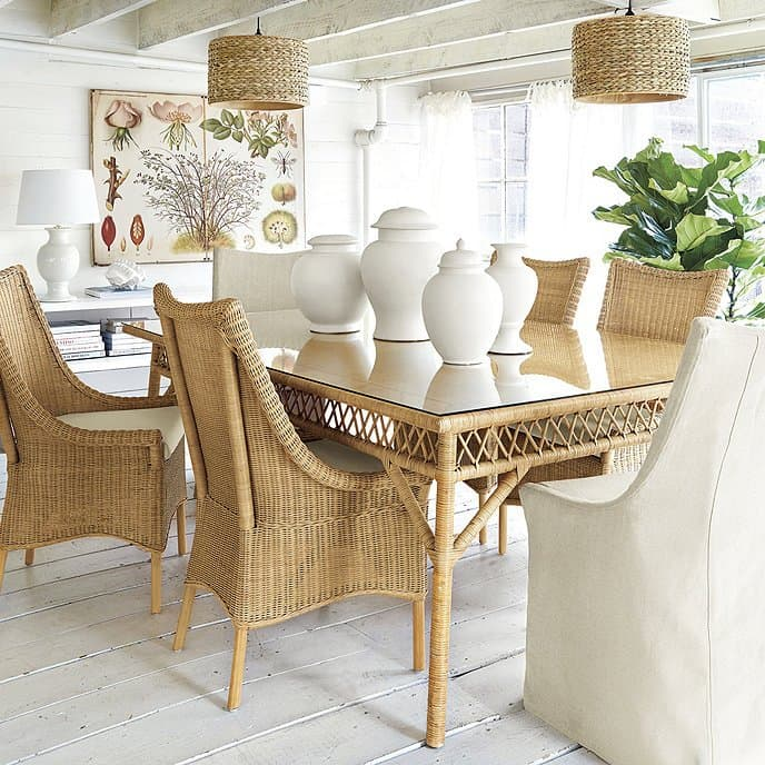 Wicker Farmhouse Dining Table