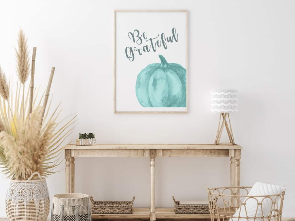 Be Grateful Coastal Blue Pumpkin Print - Instant Download to print at home