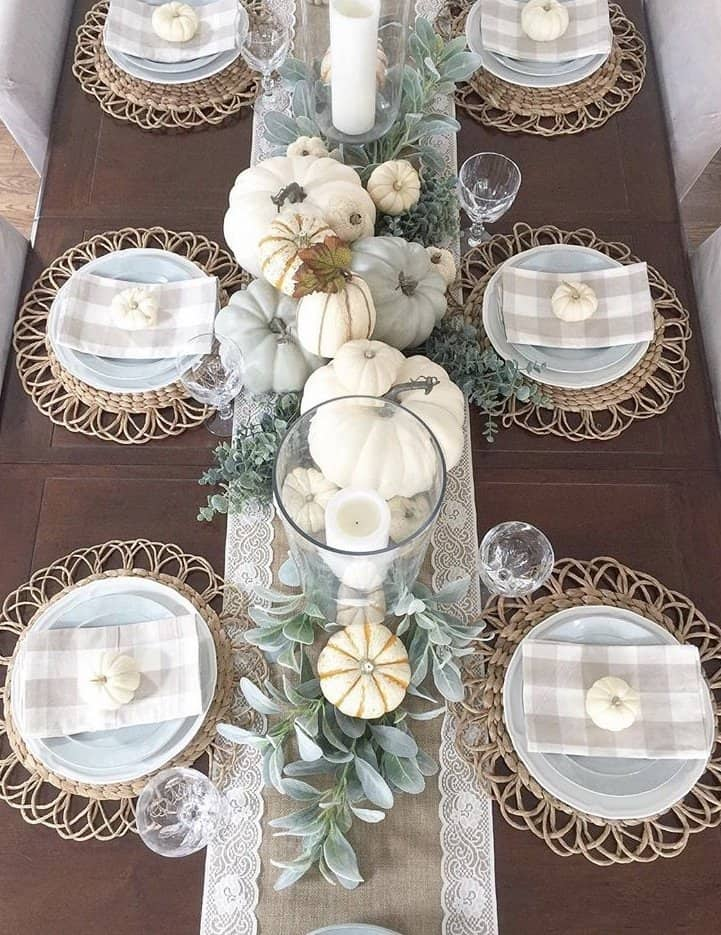 Fall Table Runner With Muted Coastal Blues