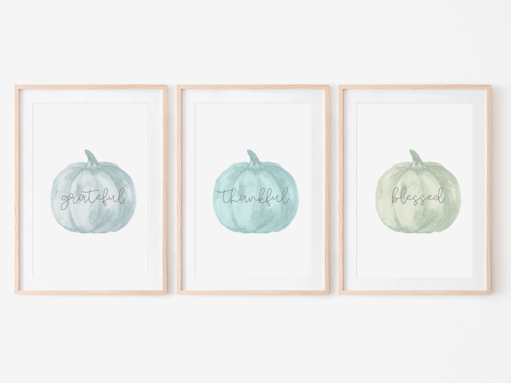 Set of pumpkin prints - Grateful, Thankful, Blessed - Thanksgiving Fall Decor Prints