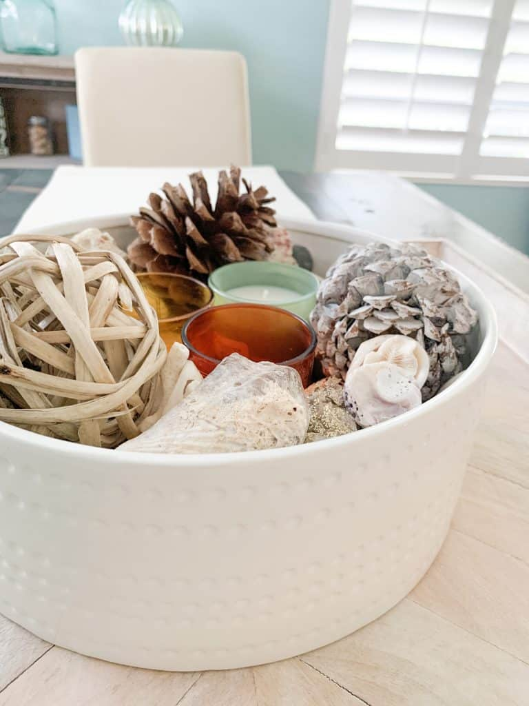 Add Sea Shells To Coastal Thanksgiving Table Centerpiece
