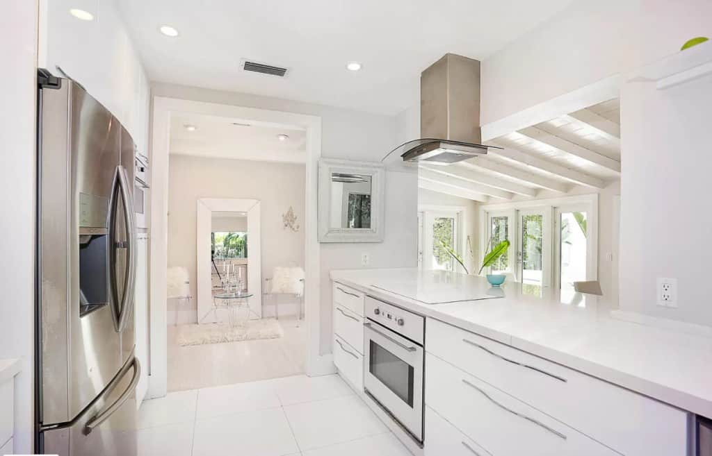 White Kitchen With Chrome Hardware on White Cabinets