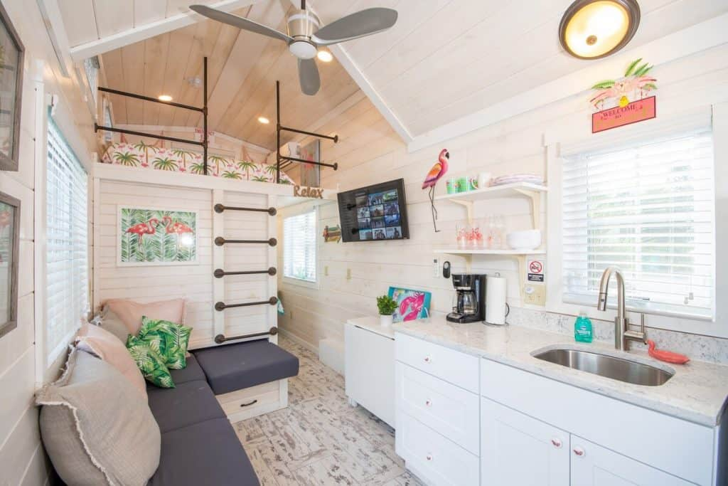 Flamingo Tiny House in Florida - Bright Wood Washed Living and Kitchen Area