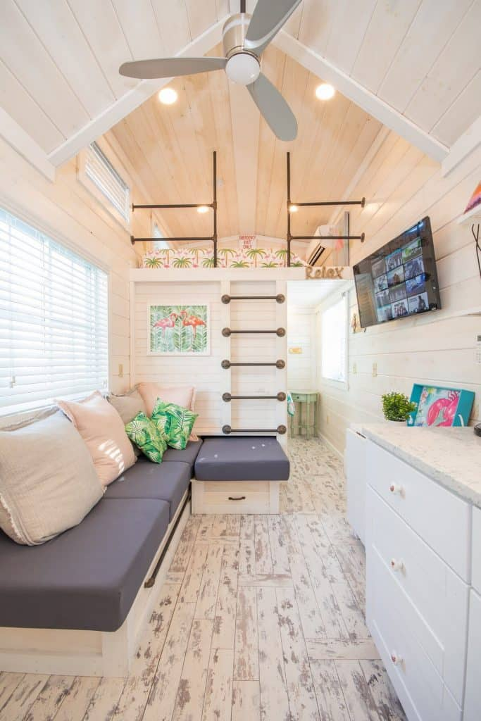 Airy Tiny Home White Washed Wood Design