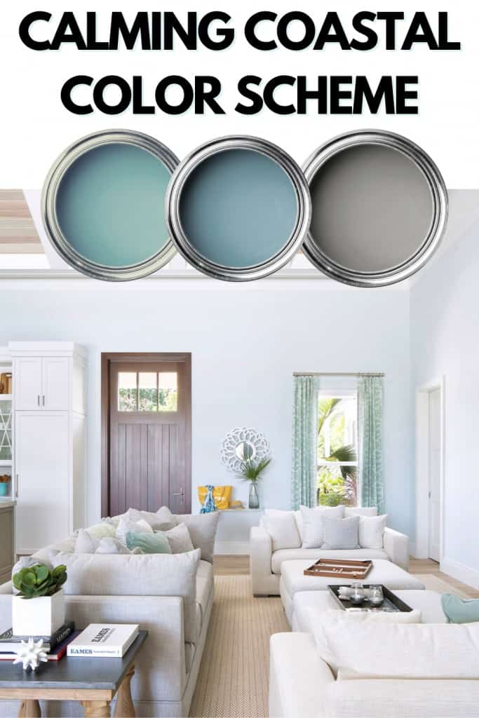 Calming Coastal Color Scheme with mute blues greens and grays