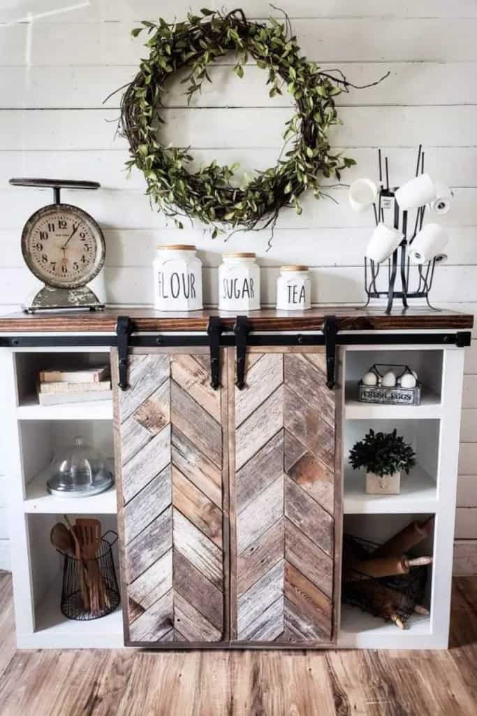 Rustic Wood Hutch Used As Coffee Bar - Beautiful Farmhouse Coffee Bar Ideas For Your AirBnb or Home