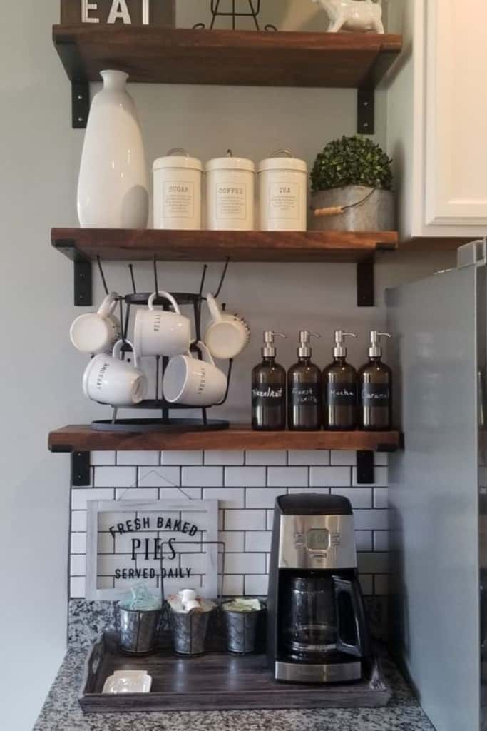 Simple Coffee Bar With Floating Shelves - How To Create A Practical AirBnb Coffee Bar Guests Love