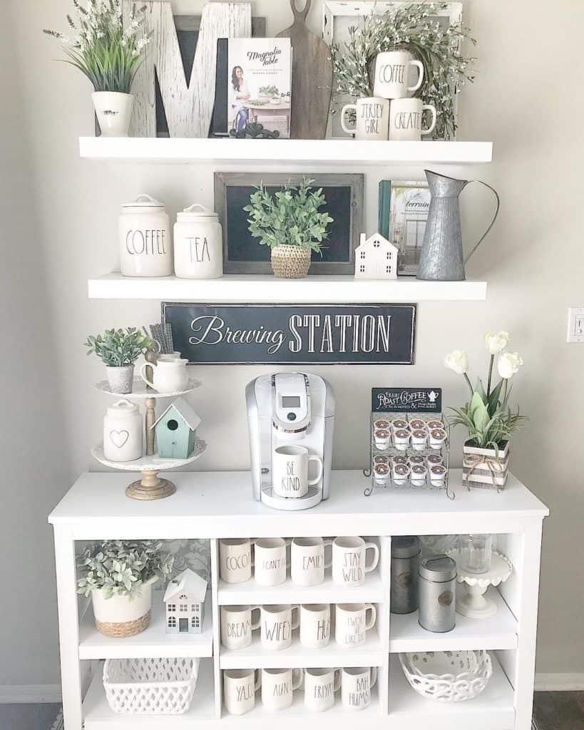 Farmhouse Coffee Bar Station - Keurig Machine, Cute Tray, Coffee Cup Accessories, Cube Storage With Coffee Bar Decor