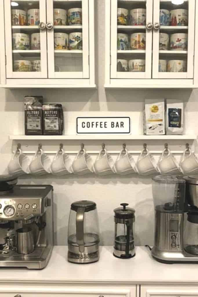 Coffee Station Area With Coffee Mug Hanger - How To Create A Practical AirBnb Coffee Bar Guests Love