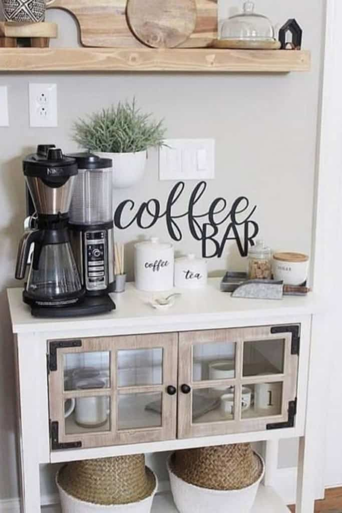 Beautiful Coffee Bar Hutch - How To Create A Practical AirBnb Coffee Bar Guests Love