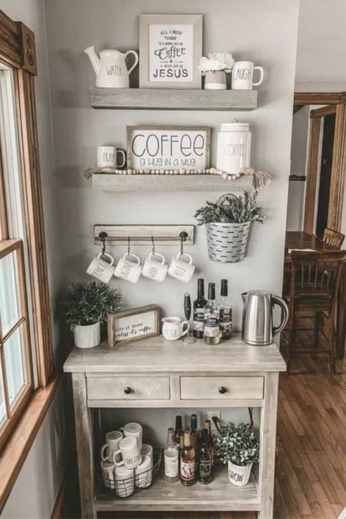Coffee Bar Hutch With Floating Wood Shelves - How To Create A Practical AirBnb Coffee Bar Guests Love