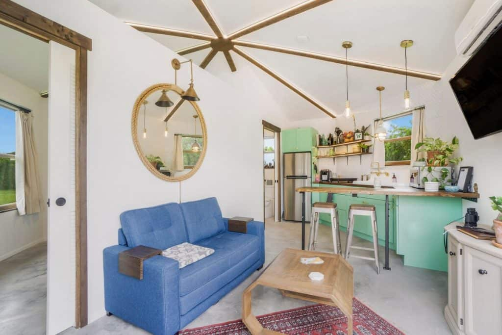 Tiny House on private island in Florida - Blue Couch Living Room