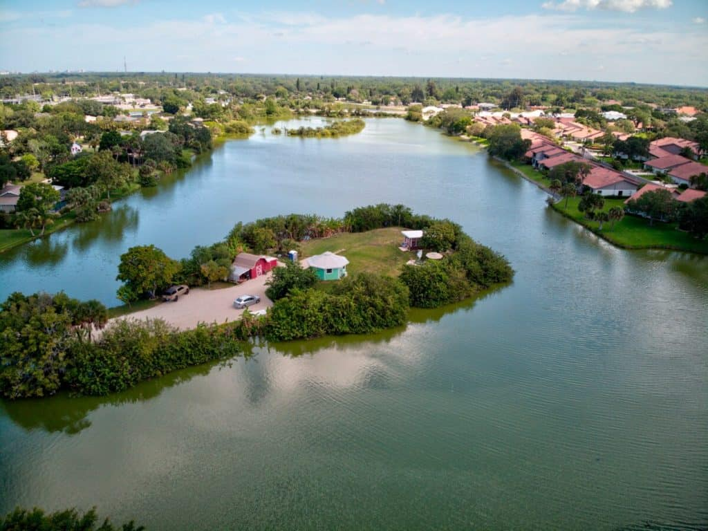 Ariel View Tiny House on private island in Florida