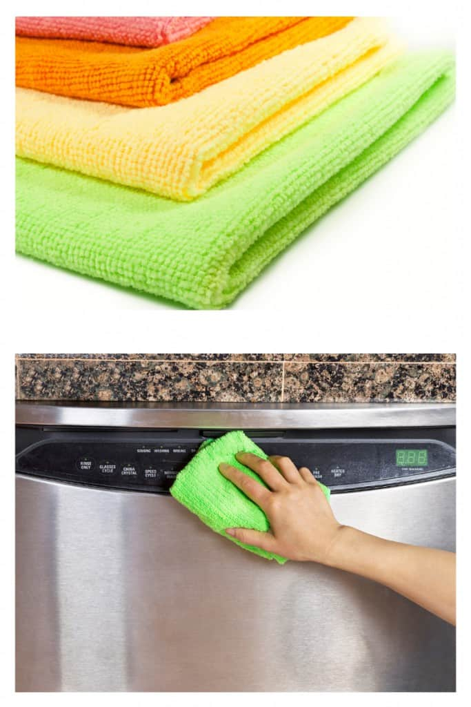 How To Remove Streaks From Stainless Steel Appliances with The Best DIY Stainless Steel Cleaner - wipe down appliances with microfiber cloth with baby oil on it