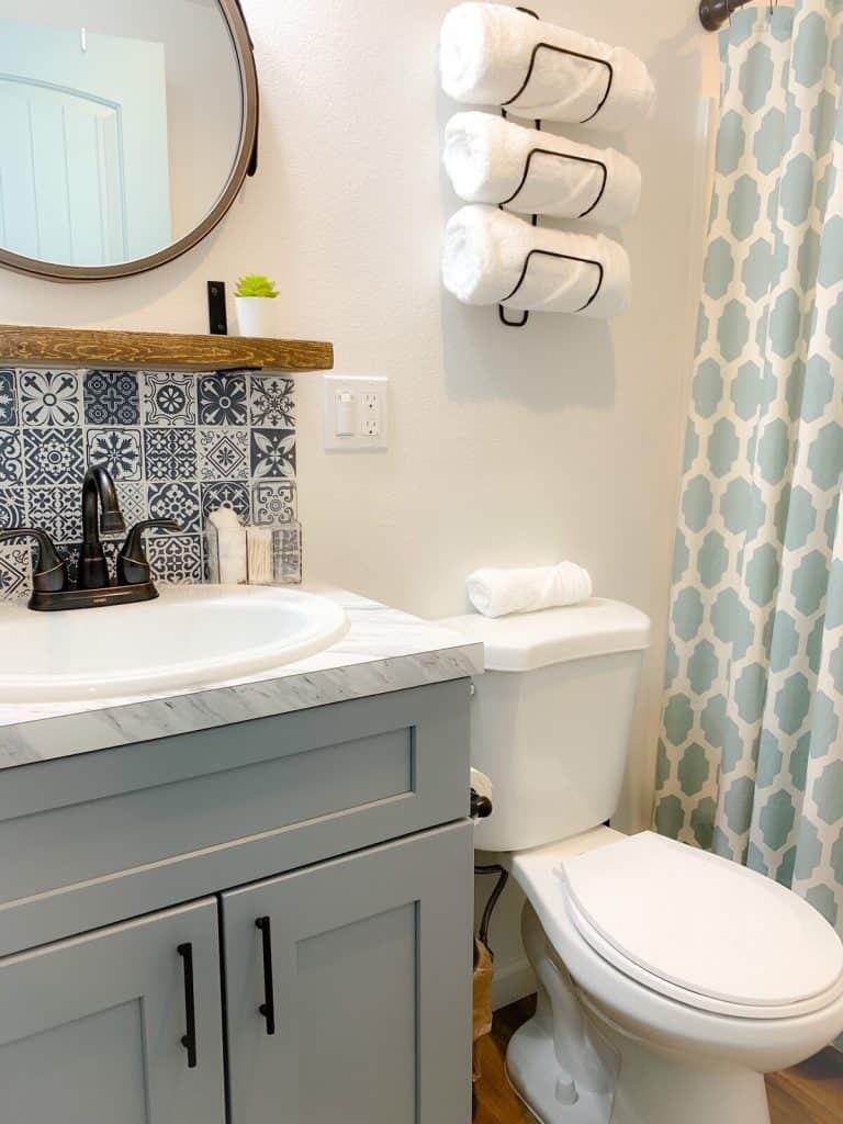 Modern Tiny House Bathroom Cool Tile