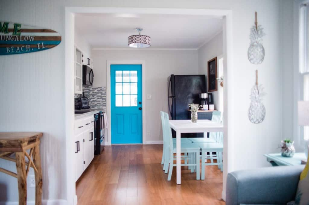 Kitchen in Beach Bungalow - Easy DIY Project - Paint Interior Door A Fun Color