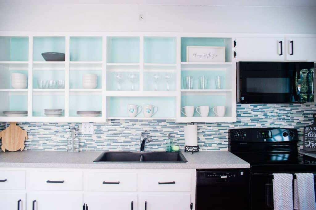 DIY Home Decor Project Open Shelving With Colorful Painted Back