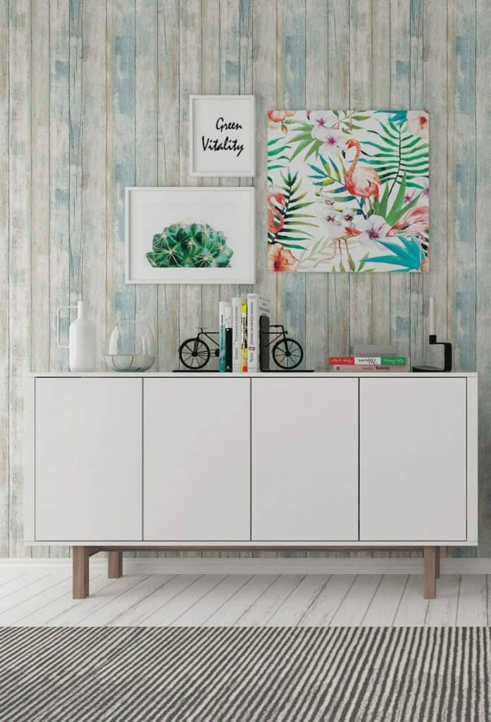 Create An Accent Wall With Wallpaper in Coastal Blue Wood Print - Easy DIY Home Decor Projects For Your Beach House
