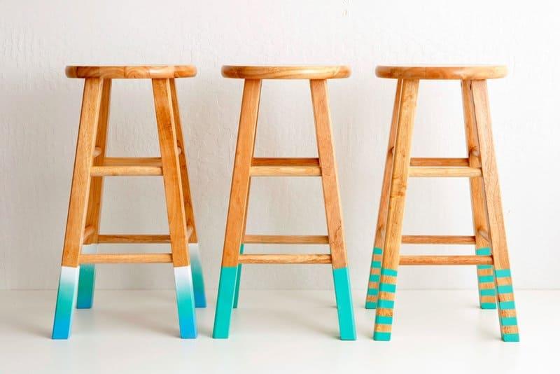 DIY Bar Stools With Coastal Teal Blue Legs