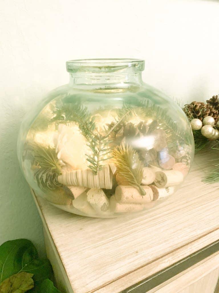Sea glass vase with wine works DIY decor piece