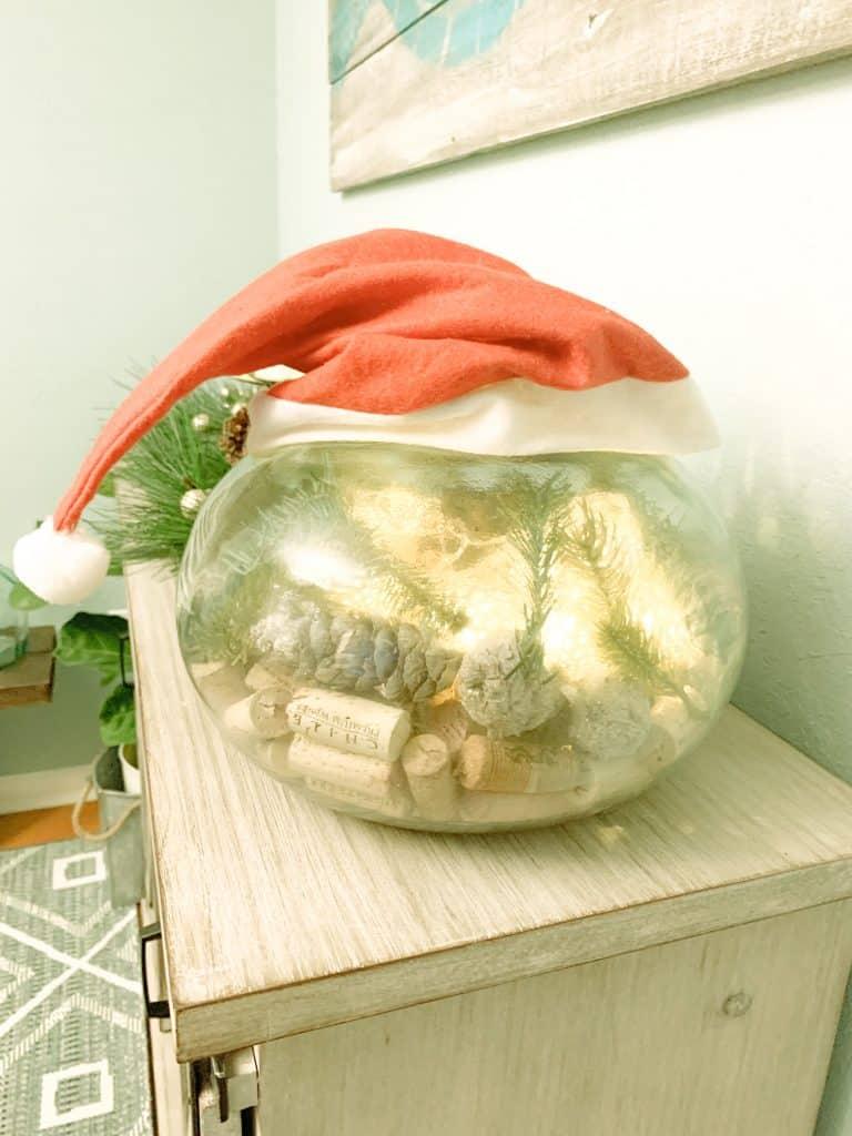 DIY Sea Glass Vase Bowl With Lights Garland Wine Corks and Santa Hat