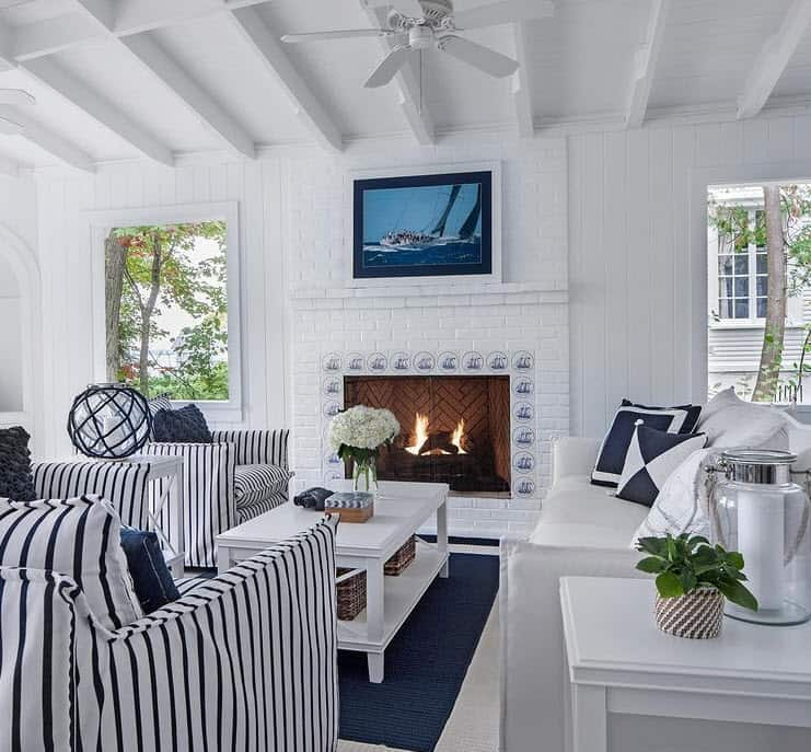 Nautical Navy Blue And White Living Room